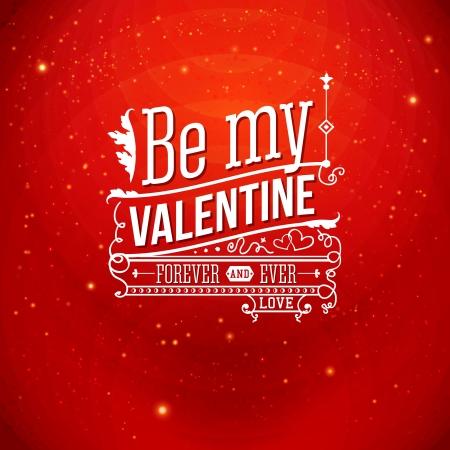 Mooie Valentijn kaart met letters stijl. Stock Illustratie