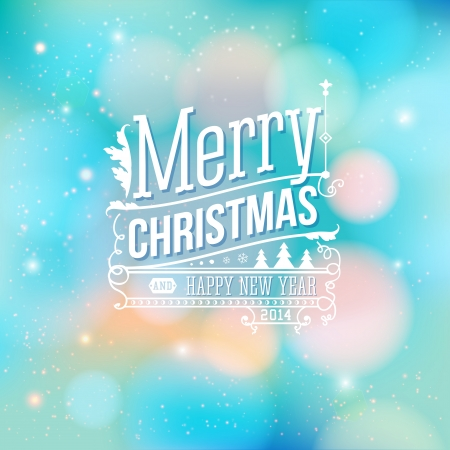 Christmas greeting card. Merry Christmas lettering in vintage style. Vector illustration. Vector