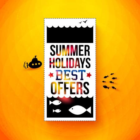 Bright summer holidays poster  Typography design  Vector illustration   Vector
