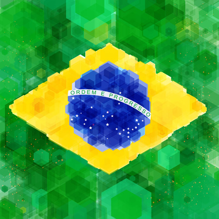 Stylized flag of Brazil  Hexagon background  Vector illustration   Vector