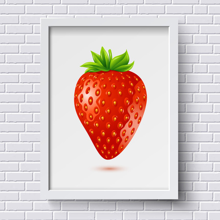 White brick wall pattern with picture frame and strawberry in it. Vector illustration.  Vector
