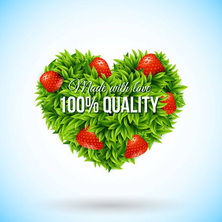 Heart shape label made of leafs. Business label. Vector illustration.  Vector