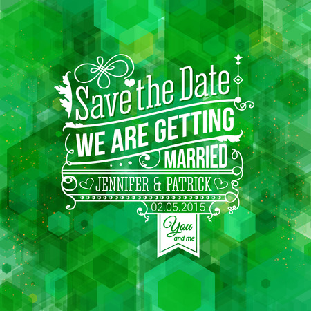 Save the date for personal holiday. Wedding invitation. Vector image.  Ilustrace