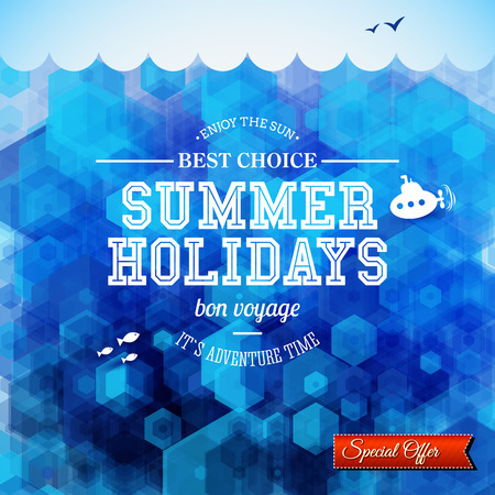 Summer design. Poster for summer holidays. Hexagon background and typographic design. Vector illustration.  Vector