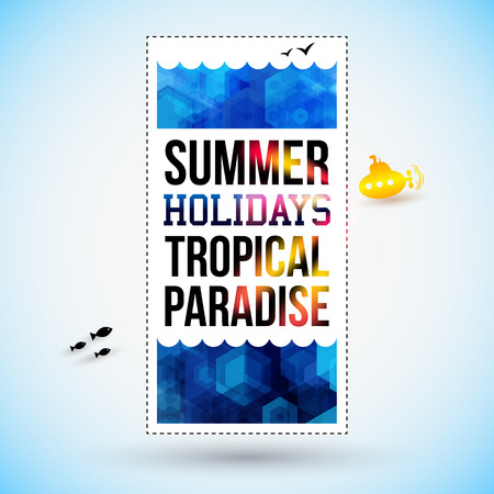 Bright summer holidays poster. Hexagon background. Typography design. Vector illustration.  Vector