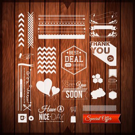 Set universele pictogrammen, grenzen en elementen voor uw ontwerp. Vector illustratie. Stock Illustratie