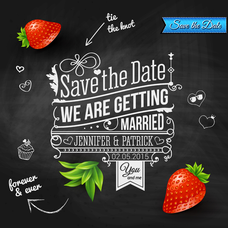 dates fruit: Save the date for personal holiday. Wedding invitation on chalkboard. Vector image.  Illustration