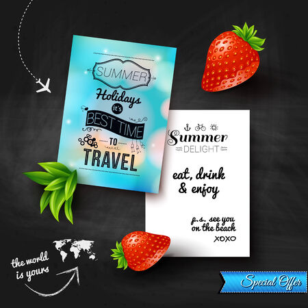 Summer holidays poster with blurry effect on a chalkboard background. Vector image.  Vector