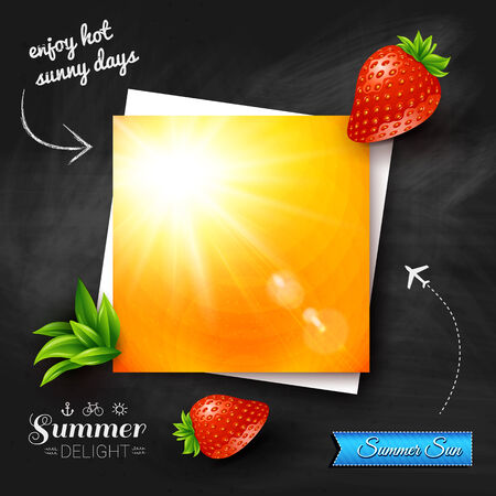Card with hot summer sun on a chalkboard background. Vector image.  Vector
