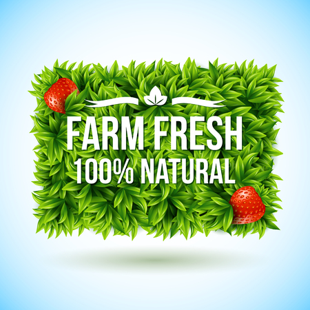 Farm fresh label made of leaves. Vector illustration.  Vector