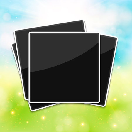 old photo album: Blank photo frames for your summer photos. Blurred background.