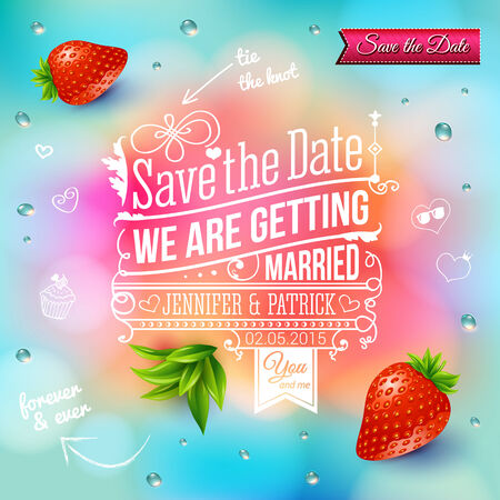 Save the date for personal holiday. Wedding invitation on blurry background. Vector