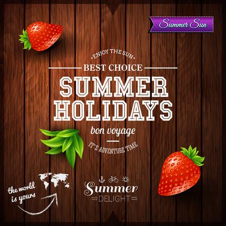 Ontwerp van de Zomer. Poster voor de zomervakantie. Houten achtergrond en typografisch ontwerp.