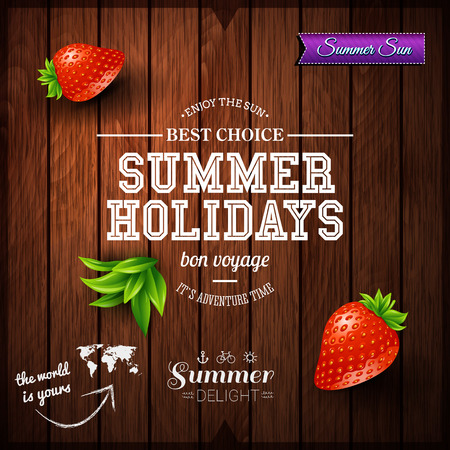 background wood: Summer design. Poster for summer holidays. Wooden background and typographic design.  Illustration