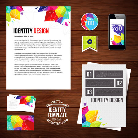 blanks: Identity design for Your business, geometric style. Set of blanks, business card, leaflet, mobile app, sticker.  Illustration