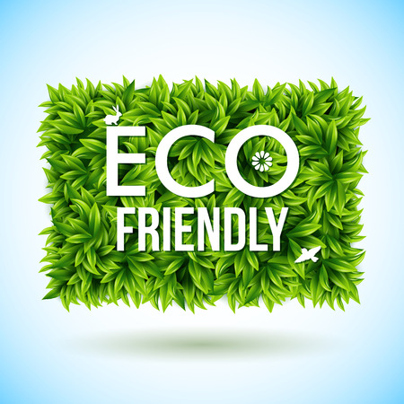 Eco friendly label made of leaves.  Vector