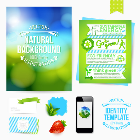 blanks: Identity design for Your business. Eco friendly style. Set of blanks, business card, leaflet, mobile app, sticker.