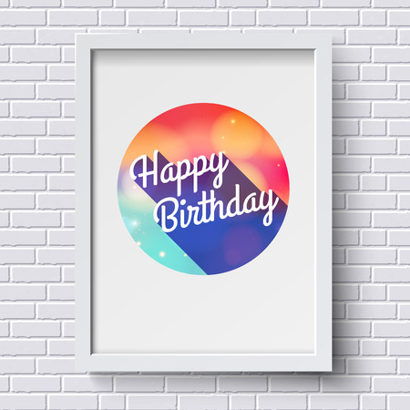 Abstract Happy Birthday card. White frame on brick wall.  Vector