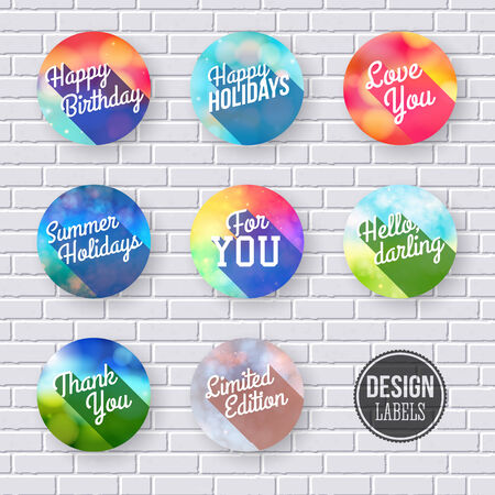 Colorful set of labels with long shadow.  Vector