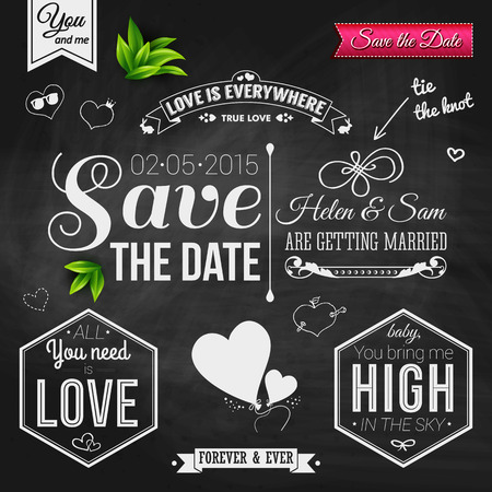 Save the date for personal holiday. Wedding invitation on chalkboard.  Vector