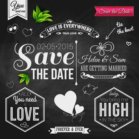 Sparen de datum voor persoonlijke vakantie. Uitnodiging van het huwelijk op krijtbord.