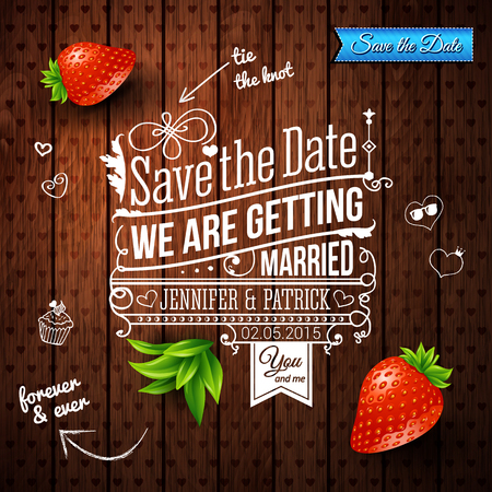 dates fruit: Save the date for personal holiday. Wedding invitation on wooden background.