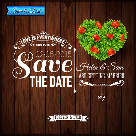 Save the date for personal holiday. Wedding invitation on wooden background.