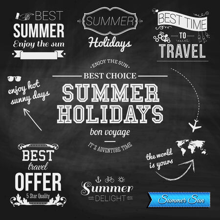 Summer design on chalkboard background. Set of typographic labels for summer holidays. Vector