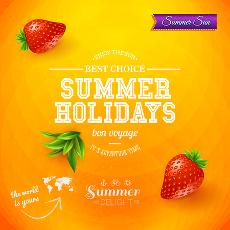 Summer design. Bright poster for summer holidays. Orange background and typographic design.  Vector