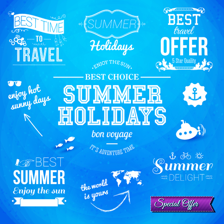 Summer design. Set of typographic labels for summer holidays.  Vector