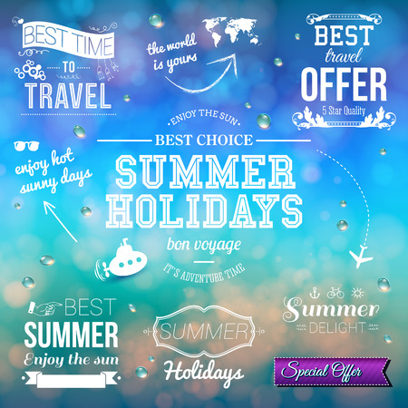 Summer design on blurred background. Set of typographic labels for summer holidays.  Vector