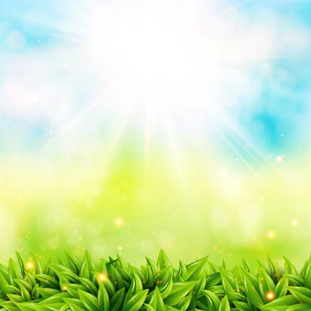 Abstracte voorjaar poster met stralende zon en onscherpe achtergrond.