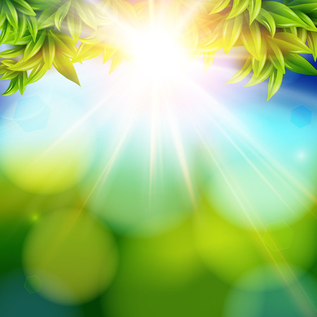 Bright shining sun with lens flare. Abstract spring background with bokeh effect.  Vector