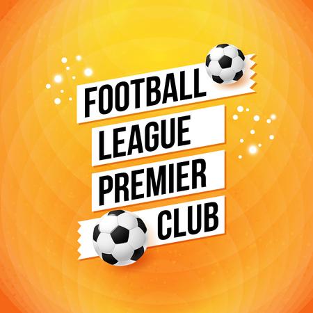 Póster de fútbol Soccer. Fondo de color naranja brillante, diseño de la tipografía. Ilustración del vector.