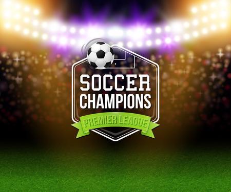 Abstracte soccer voetbal poster. Stadion achtergrond met felle lampen, typografie ontwerp en realistische voetbal voetbal bal. Vector illustratie.