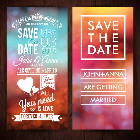 date: Save the date for personal holiday. Wedding invitation. Vector image.  Illustration