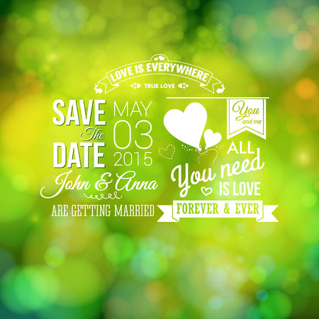 Save the date for personal holiday. Wedding invitation, blurred background. Vector image.