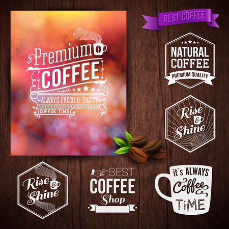 Premium coffee advertising poster and coffee beans. Set of typography design labels on a wooden background.. Vector illustration.  Vector