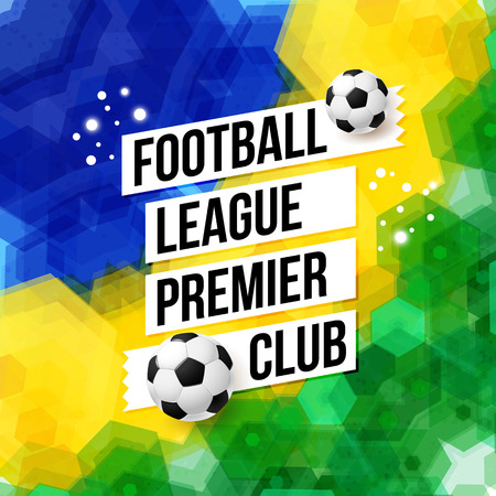 premier league: Soccer football poster. Mosaic background in Brazil flag colors.Vector illustration.  Illustration