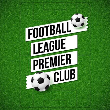 Voetbal poster. Voetbal veld achtergrond met voetbal bal. Vector illustratie.