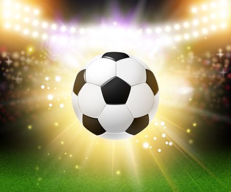 Abstract soccer football poster. Stadium background with bright spotlights and realistic soccer football ball. Vector illustration.  Illustration