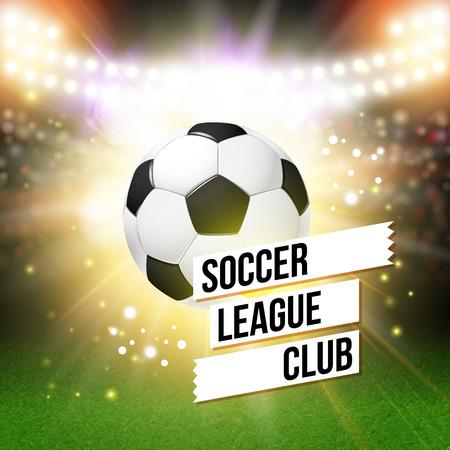 Abstract voetbal poster. Stadium achtergrond met heldere spots en realistische voetbal bal. Vector illustratie.