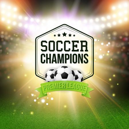campeonato de futbol: Resumen del cartel de fútbol soccer. Fondo del estadio con focos brillantes, diseño de la tipografía y realista pelota de fútbol soccer. Ilustración del vector.