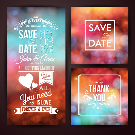 Save the date for personal holiday and thank you card. Wedding invitation set. Vector image.  Ilustração