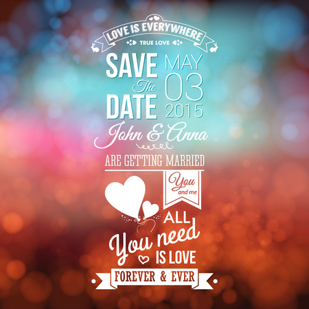 outdoor wedding: Save the date for personal holiday. Wedding invitation, blurred background. Vector image.