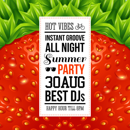 Juicy summer party poster. Optical strawberry background pattern. Vector illustration.  Vector