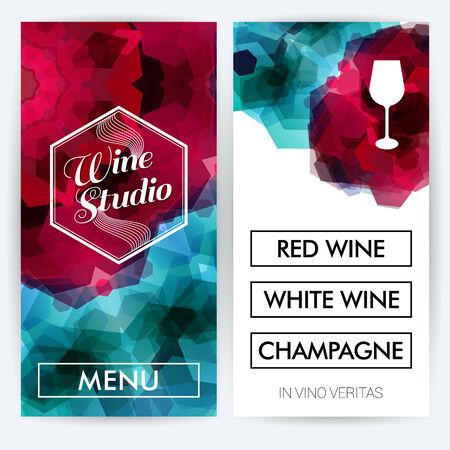 Menu cards for Wine Studio. Vector illustration.  Vector