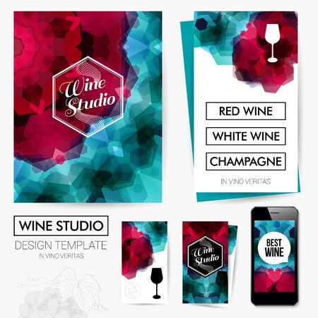design studio: Identity design for Your Wine studio business. Set of blanks, business card, leaflet, mobile app. Vector illustration.  Illustration