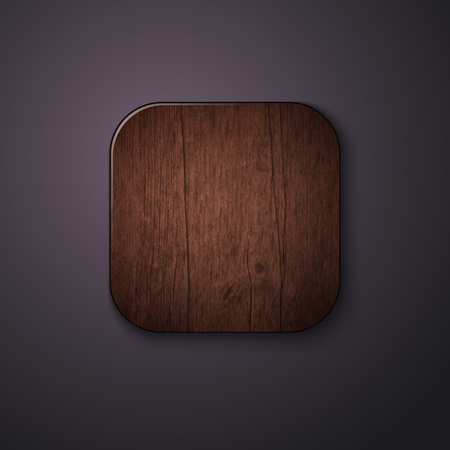 Wooden texture icon stylized like mobile app. Vector illustration.  Vector