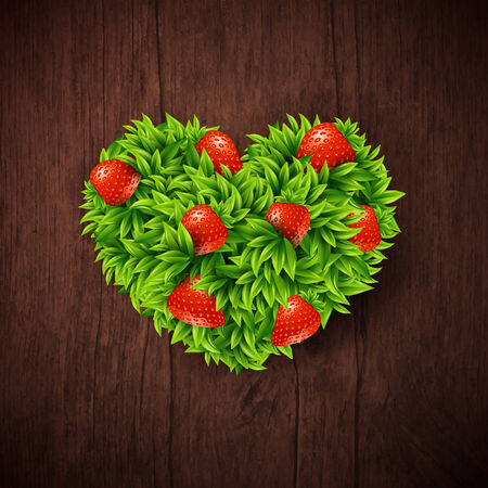 Natural background with wooden board and heart made of leaves and strawberries. Vector illustration.  Vector